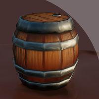 stylized barrel 3D model