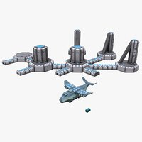 3D space factory cargo spaceship model