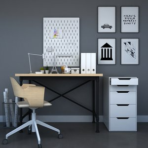 ikea office furniture desk chair 3D model