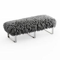 3D wool mongolian fur bench