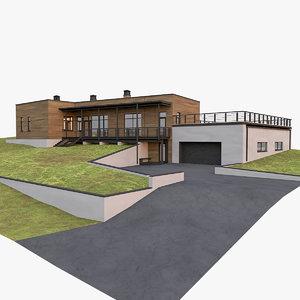 3D american modern house model