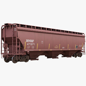 covered hopper car c114 3D model