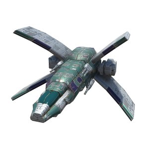 spaceships heavy space fighter 3D model