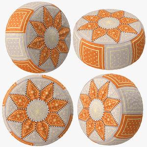 3D beige orange moroccan leather