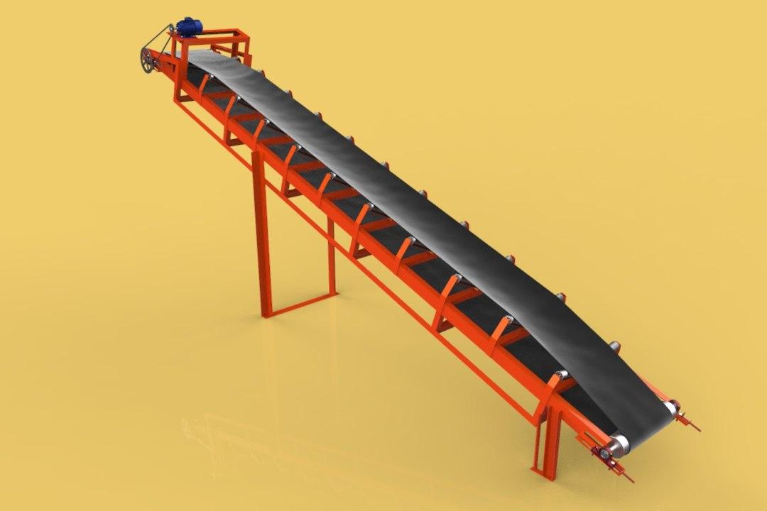 Ленточный конвейер 3d модель транспортер 4 осный площадочный