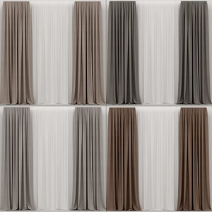 curtains brown 3D model