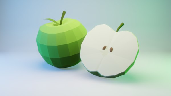 3D green apple -