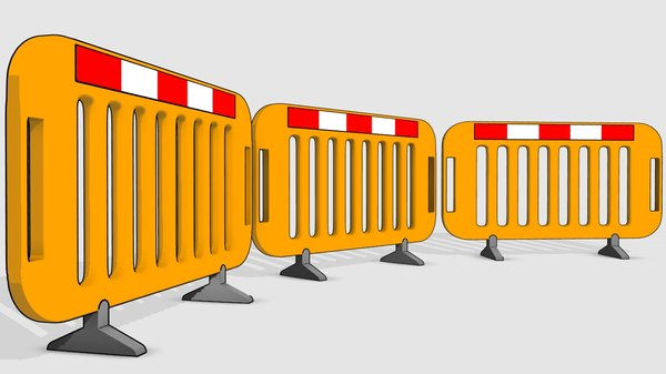 3D construction site road barrier model