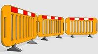 Construction site road barrier cartoon 3d Low-poly 3D model