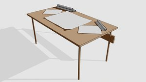 paper office table desk model