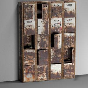 3D model rusty weathered metal locker