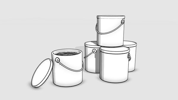 3D buckets painting cartoon
