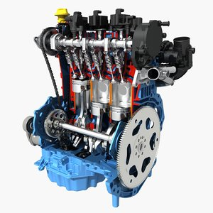 3D model petrol engine cutaway