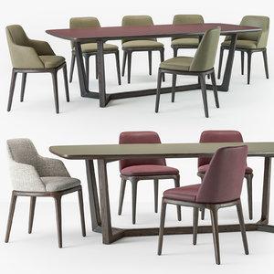 3D grace chair concorde table set