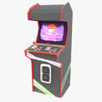 3D 80s retro arcade cabinet model