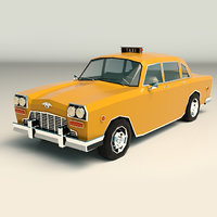 3D model yellow cab