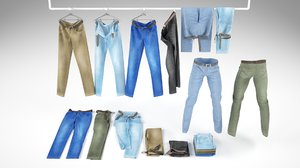 3D jeans folded clothing