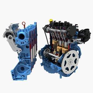 petrol engine cutaway 3D