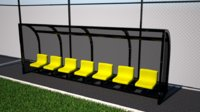 Subs Bench - Dugout seats - football soccer pitch stadium