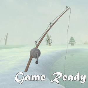 3D cartoon fishingpole fishing
