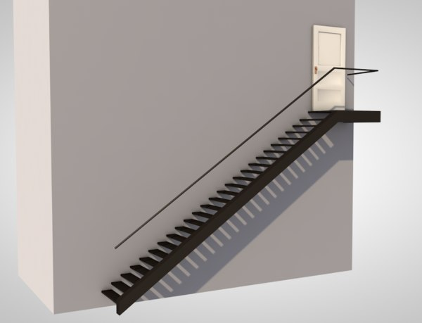 3D exterior escape stairs staircase