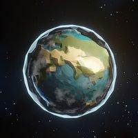 Stylized Low Poly Earth Globe