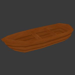 3D wooden boat cartoon model