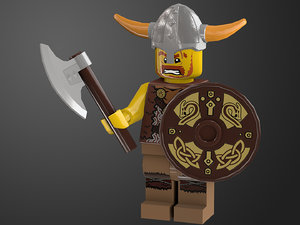 rigged ready viking lego character 3D model