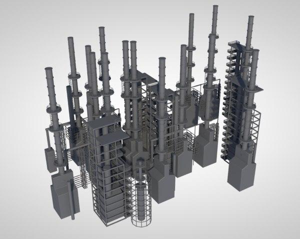 industrial oil refinery 3D model