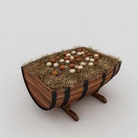 barrels organic eggs 3D