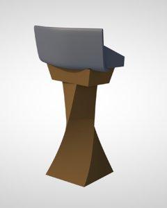 podium speech stand 3D