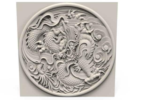 3D dragon relief