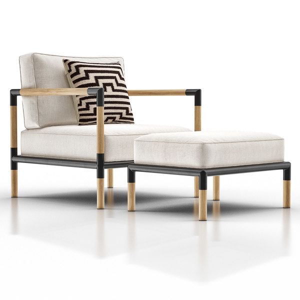3D barra lounge ottoman teak model