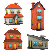cartoon house pack 3D model