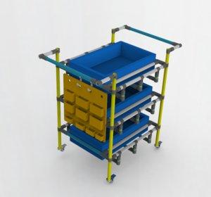 3D handcart pushcart