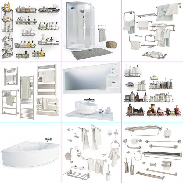 set furniture shower baths 3D model
