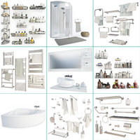 set furniture shower baths 3D model