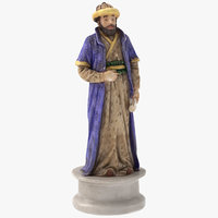 3D chess piece bishop black model