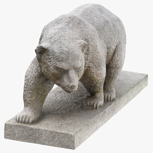 3D model stone bear statue 01