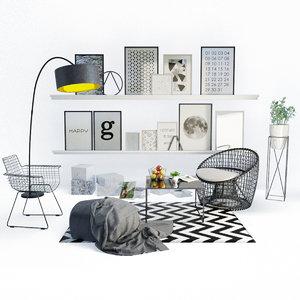 design living room set 3D model