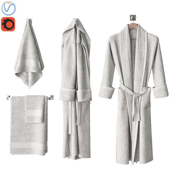 white bathrobes towels 3D model