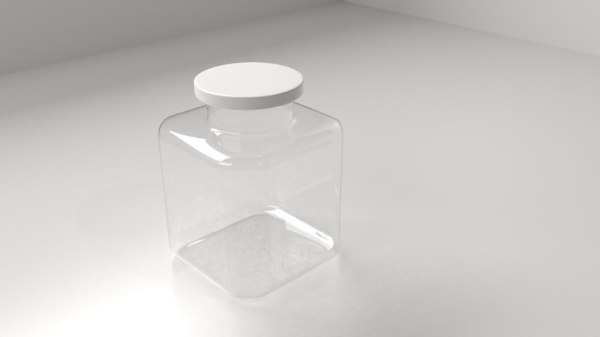 3D model square food canister 4