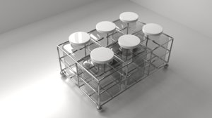 square food canister rack 3D