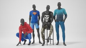 mannequins relaxed clothes 3D model