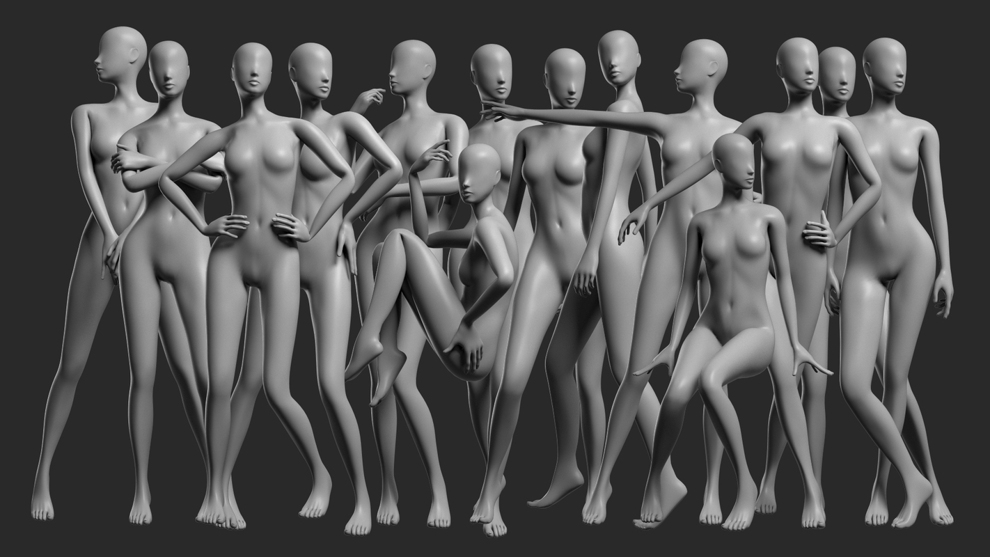 3D female mesh - 14