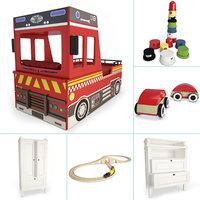 set boy bedroom truck 3D