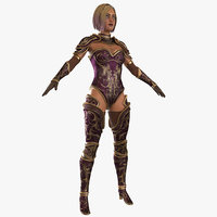 warrior woman rigged 3D model