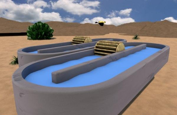 3D open raceway pond
