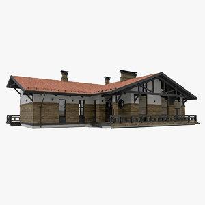 3D model european modern timber house