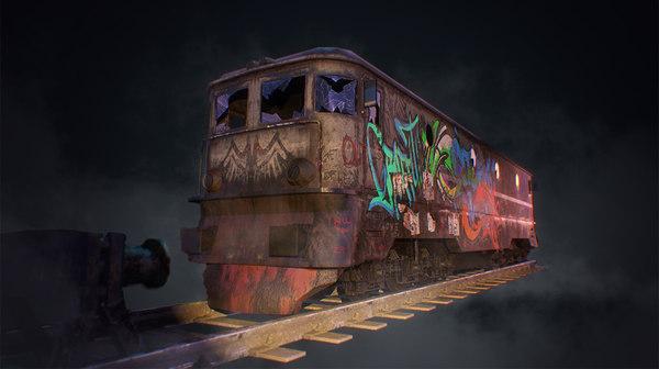 abandoned train 3D model